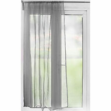 Slot Top Sheer Voile Curtain Panel – 59 inch Width – Silver – Ready Made