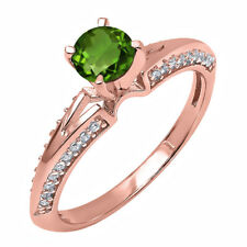0.84 Ct Round Green Chrome Diopside White Diamond 14K Rose Gold Ring