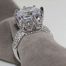 925 Silver White Sapphire King Crown Engagement 2 Ct CZ Wedding Ring Jewelry New