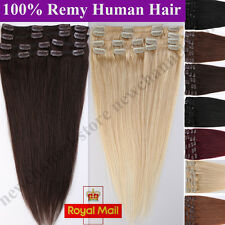 Full Head 10-22inch Real Human Hair Clip in Remy Hair Extensions Straight C269