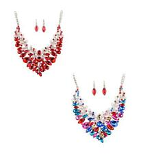 Wedding Bridal Crystal Exaggerated Leaf Vine Necklace Earring Party Jewelry Set