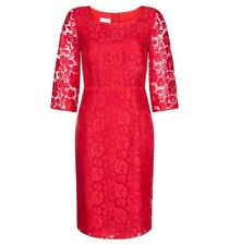 HOBBS LONDON ELEGANT POPPY RED FLORAL LACE LINED OCCASION DRESS BNWT RRP£200 UK8
