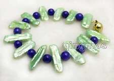 20-25mm Natural Green Biwa Pearl Bracelet for Women with Round Blue Jade 7.5''