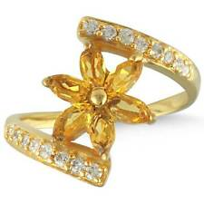 Citrine Quartz Gemstone Handcrafted Jewelry Gold Filled Ring Size M VG97985