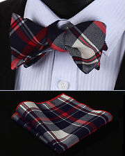 BMC403R Red Navy Blue Check Men Cotton Self Bow Tie Pocket Square set
