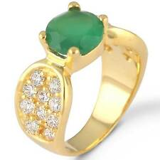 Gold Plated Mordern Jewelry Natural Green Onyx Gemstone Ring Size Q nw28654