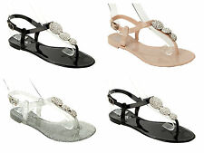 GIRLS DIAMANTE JELLY SUMMER BEACH HOLIDAY FLAT SANDALS SHOES KIDS UK SIZE 12-4