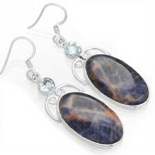 Natural Sodalite Gemstone Unique Jewelry 925 Sterling Silver Earring OK04199