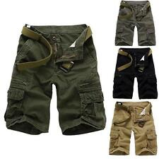 Military Mens CAMO CARGO SHORTS Camouflage Trouser Work Army Loose Baggy Pants