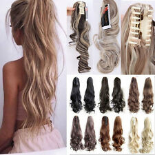 100% Real Clip In Ponytail Pony Tail Hair Extension Claw On Hair Piece curly wav