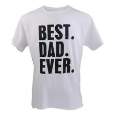 BEST DAD EVER Funny Slogan T-shirt Tee Fathers Day Birthday Gift White L-2XL