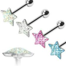 tongue piercing star Barbell with Ferido Crystals made of stainless steel 316L