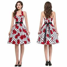 Retro 50s Women Halter Backless Floral Swing Rockabilly Pinup Dress Gown Party