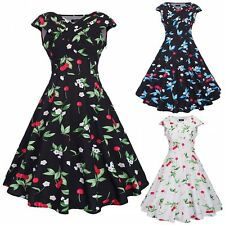 Womens Cap Sleeve 50s 60s Rockabilly Swing Party Vintage Floral Pinup Ball Dress