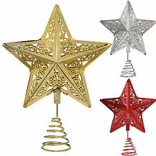 Star Christmas Tree Top Topper Decoration Gold Red Silver 30cm