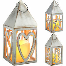 Pre-Lit Heart Lantern Christmas Decoration Wooden Heart Star Tree Antique White