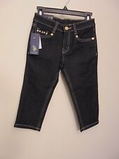 NWT U.S. Polo Assn. black denim girls skinny jeans size 6X silver studs