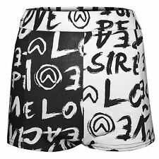 WOMENS MONO LOVE PRINT HOT PANTS HIGH WAISTED LADIES PARTY JERSEY SHORTS BLACK