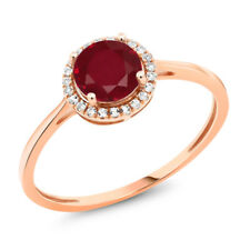 10K Rose Gold Diamond Engagement Ring Round Red Ruby 1.22 cttw