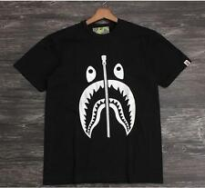 Men's Silver Shark Jaw Classical Bape Fake Zipper Pattern A Bathing Ape T-Shirt