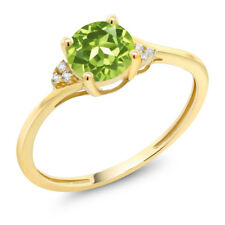 10K Yellow Gold 0.90 Ct Round Green Peridot White Created Sapphire Ring