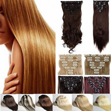 100% Real Natural Full Head Clip in Hair Extensions 8 Pieces 18Clips Ombre Mix
