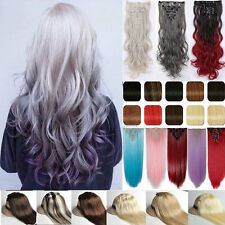 100% Natural Ombre Clip in Hair Extensions Full Head Long As Human Hair Straight