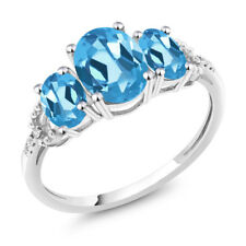 Diamond Accent 10k White Gold 2.45 Ct Oval Swiss Blue Topaz Engagement Ring
