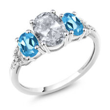 Diamond Accent 10k White Gold 2.35 Ct Oval White Topaz Swiss Blue Topaz Ring