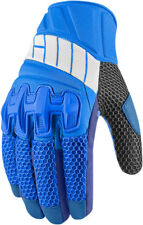 Icon Mens Blue/Grey Leather/Textile Mesh Overlord Motorcycle Gloves