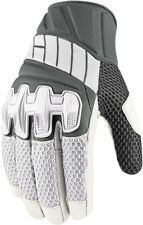 Icon Mens White/Grey Leather/Textile Mesh Overlord Motorcycle Gloves