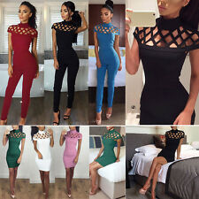 Women Choker High Neck Bodycon Caged Mini Dress Playsuits Jumpsuits Rompers CA