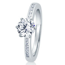 7MM Silver 0.85ct CZ Channel Setting Band Solitaire Wedding Engagement Ring