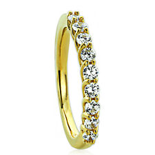 2MM Sterling Silver 14K Gold Plated Wedding Ring CZ Nine Stone Anniversary Band
