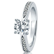6.5MM Sterling Silver 1ct CZ Channel Setting Solitaire Wedding Engagement Ring