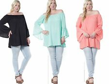 Womens Ladies Long Off The Shoulder Boho Party Plus size Tunic Top Size 16 18 20