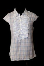 D11 Cino Ruffle Front Blue White Raw Edge Lightweight Top Blouse  $125