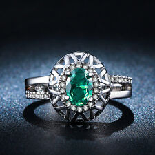 Gorgeous Size 6,7,8 Women's Green Emerald 10KT Gold Filled Engagement Rings Gift