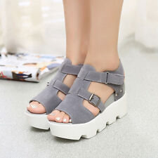 Women High Top Buckle Wedge Shoes Wedges Sandals Peep Toe Platform Slippers Size