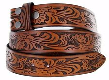 Embossed Western Cowboy Bonded Leather Snap On Strap Buckle Belt Wholesale NC90