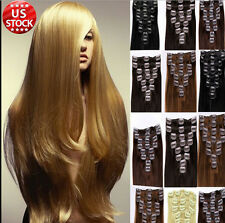 """7PC Set 15""""-22"""" Clip in Remy Human Hair Extensions Any Black Blonde Brown USA"""