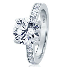 Women 9MM Sterling Silver 2.75ct CZ Channel Setting Band Wedding Engagement Ring