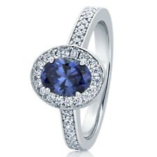 Women 10.5MM Sterling Silver Oval 0.75ct Tanzanite Halo Cocktail Ring Band