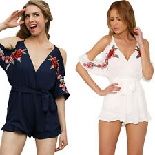Flower Sexy Women jumpsuit Summer 2017 Embroidery ruffle Romper V neck Vintage