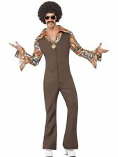 Adult 70s Retro Disco Groovy Boogie Jumpsuit Mens Fancy Dress Stag Party Costume