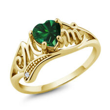 0.69 Ct Green Simulated Emerald White Topaz 18K Yellow Gold Plated Silver Ring