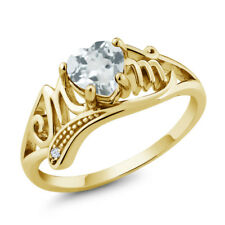 0.68 Ct Sky Blue Aquamarine White Topaz 18K Yellow Gold Plated Silver MOM Ring