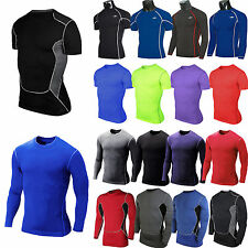 Mens Compression Baselayer T-Shirt Thermal Under Body Armour Skin Tight Tee Tops