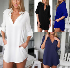 UK Womens Loose V Neck Chiffon T Shirt Long Sleeve Oversized Tops Blouse Dress