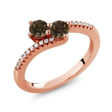 0.76 Ct Round Brown Smoky Quartz Two Stone 18K Rose Gold Plated Silver Ring